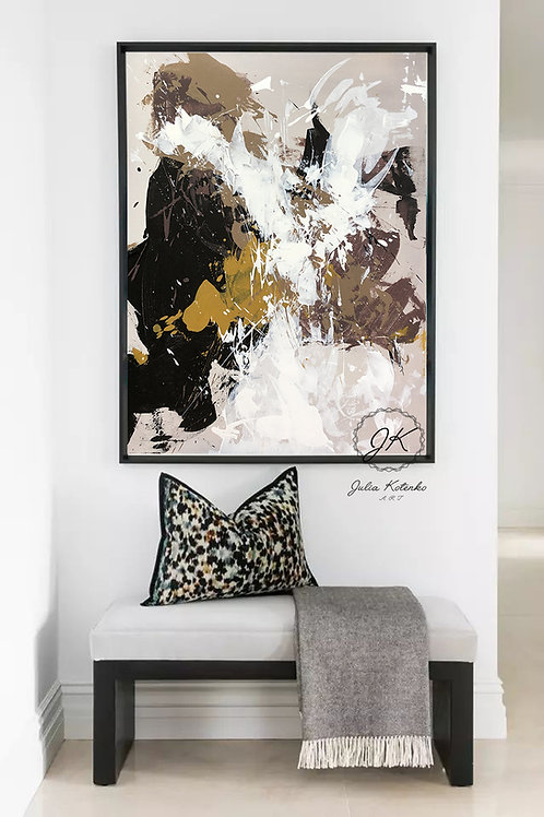 Abstract Painting Original, Brown Handmade painting on Canvas by Julia Kotenko