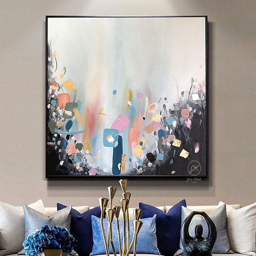 Abstract Painting Original, Extra Large Wall Art, Gold Leaf Painting by Julia Kotenko