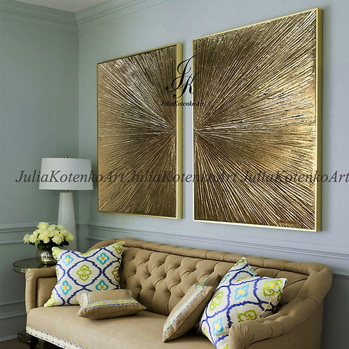 Gold Leaf Art Textured On Canvas Abstract Painting by Julia Kotenko