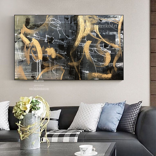 Oversize Abstract Painting Gold painting Black painting Original Abstract Painting by Julia Kotenko