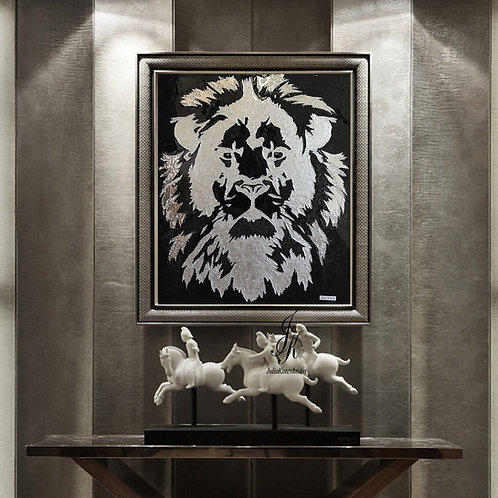 Silver Lion Swarovski Lion Painting Silver Leaf Art Resin Painting