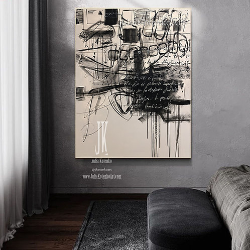 Beige painting, Oversize painting, Black Painting,Original Abstract Painting by Julia Kotenko