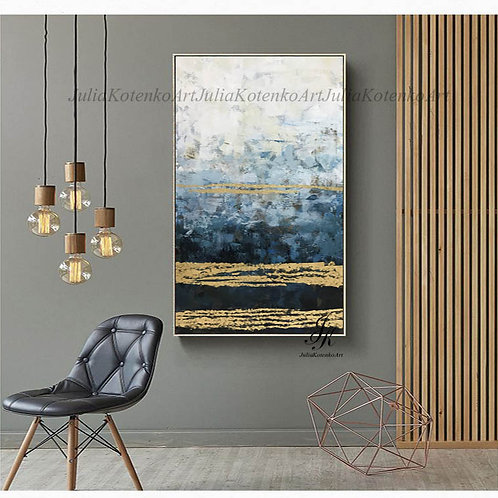 Abstract Painting, Large Wall Art, Gold Leaf Art, Canvas Art by Julia Kotenko