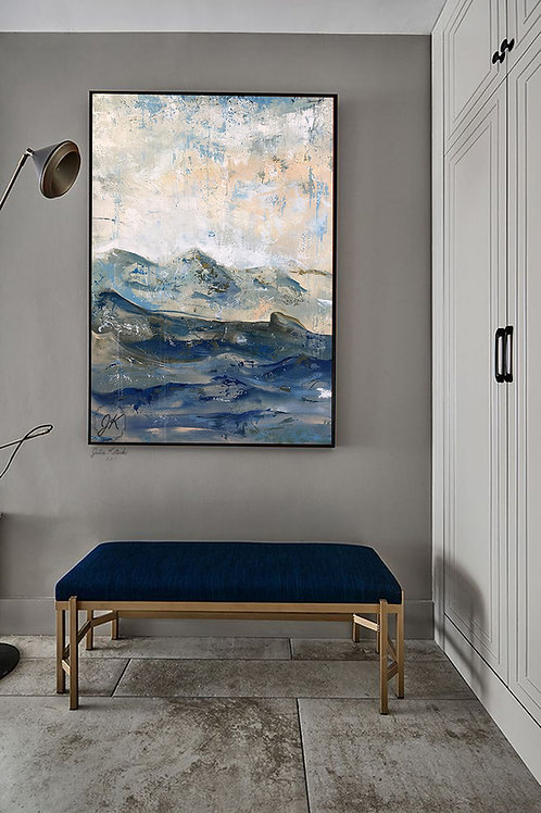 Abstract Blue Landscape Oil Painting,Abstract Mountains Textured Wall Art by Julia Kotenko