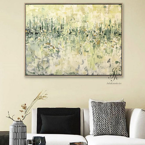 Original Large Abstract Oil Painting Textured Painting Gold Leaf Art On canvas by Julia Kotenko