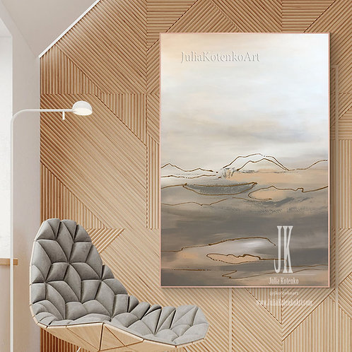 Beige painting,Above Bed decor, Abstract Landscape Painting by Julia Kotenko
