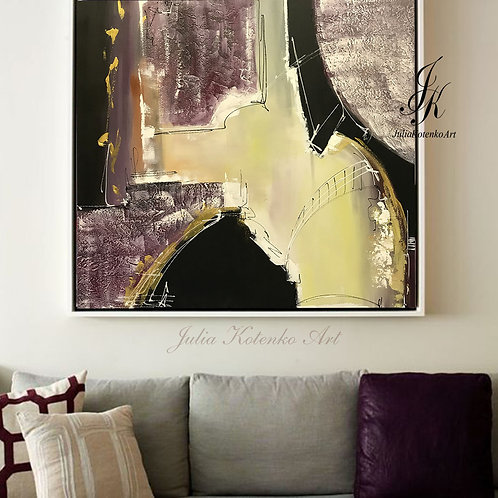 Large Abstract Oil Painting Texture Art on Canvas by Julia Kotenko