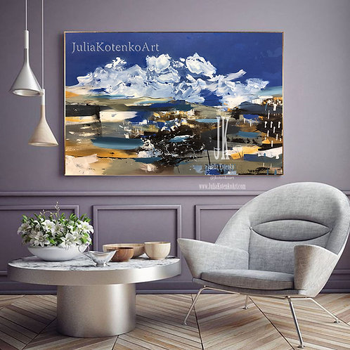 Large Abstract Landscape Painting Oil large Painting Blue Painting by Julia Kotenko