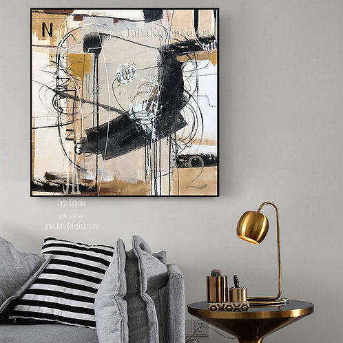 Oil Canvas Painting, Beige Brown Painting, Wall Art Abstract Painting by Julia Kotenko
