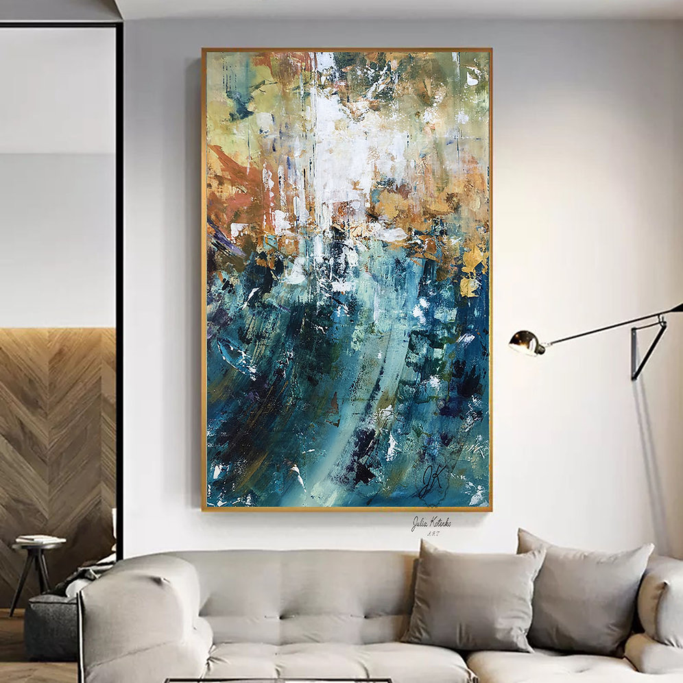 Over The Bed Decor Oversized Canvas Art Teal Blue Wall