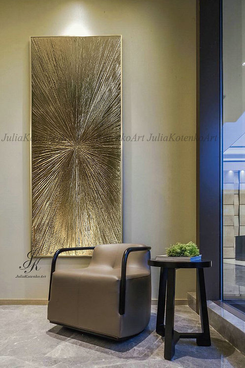 """Abstract Gold Painting """"Rays"""" Gold Leaf Texture Painting on Canvas by Julia Kotenko"""