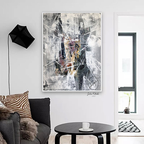 Grey painting, Large wall art canvas, White abstract canvas by Julia Kotenko