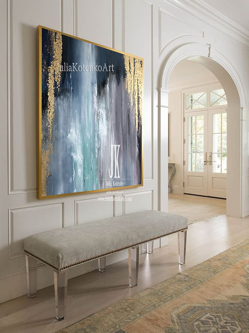 Large Original Painting On Canvas Gold Leaf Painting by Julia Kotenko