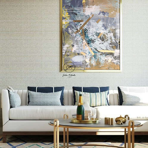 Large Wall Art,Abstract Painting, Gold Leaf Painting on Canvas by Julia Kotenko