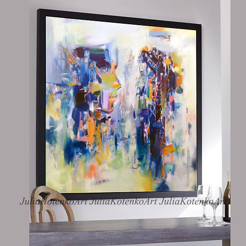 Original Large Abstract Oil Painting Tetxured Painting by Julia Kotenko