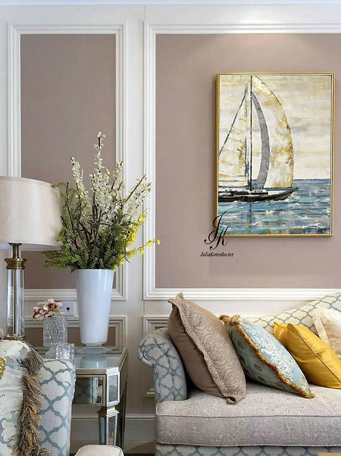 Abstract Sailing Ship Painting Gold Leaf Art On Canvas by Julia Kotenko
