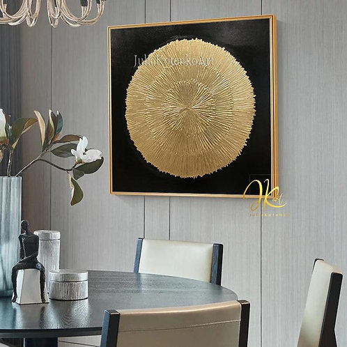 Gold Leaf Painting,Sunberst Wall Decor Large Wall Art Gold Wall Decor Texture