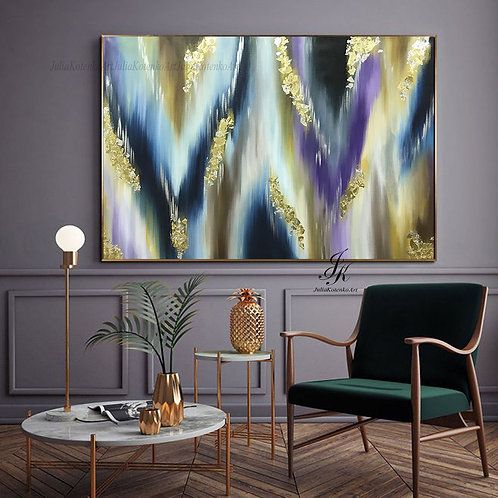 Large Abstract Oil Painting Gold Leaf,Sillver leaf Art on Canvas by JuliaKotenko