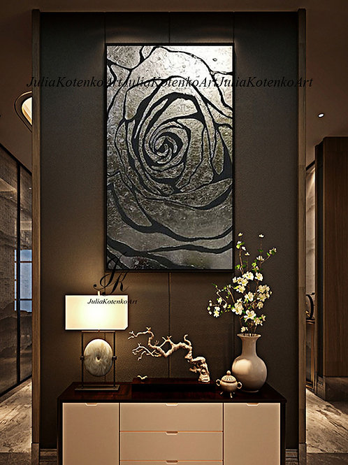 Silver Rose Painting Silver Laef Art Textured Painting on Canvas by Julia Kotenko