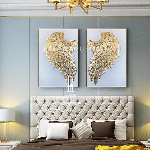 Gold Leaf Painting, Angel Wings Painting,Set of 2 golden paintings by Julia Kotenko