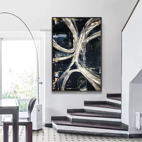 Black and Gold painting,Gold Leaf Painting,Extra Large Wall art by Julia Kotenko