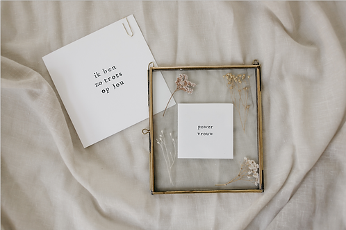 Cadeau: lijstje met droogbloemen en tekst + kaart