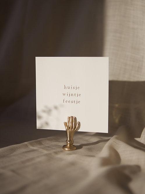 Enkel kaartje goudfolie - Huisje wijntje feestje