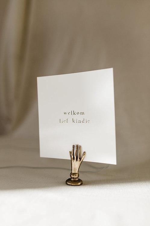 Enkel kaartje goudfolie - Welkom lief kindje