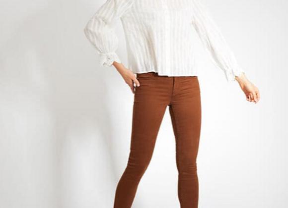 Pantalon cognac slim longueur 7/8ème I.Code