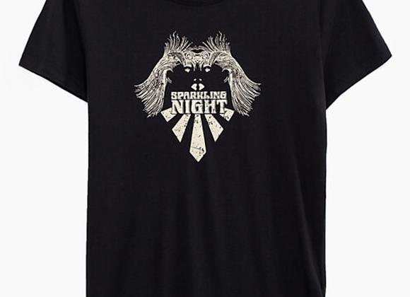 Tee-shirt noir en coton modal visuel Sparkling Night IKKS