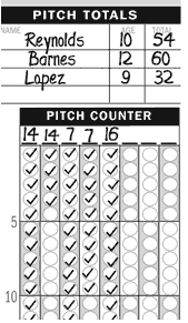 Baseball pitch counting scorebook