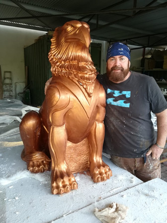 Hamish with his Griffen Sculpture, a work in progress.