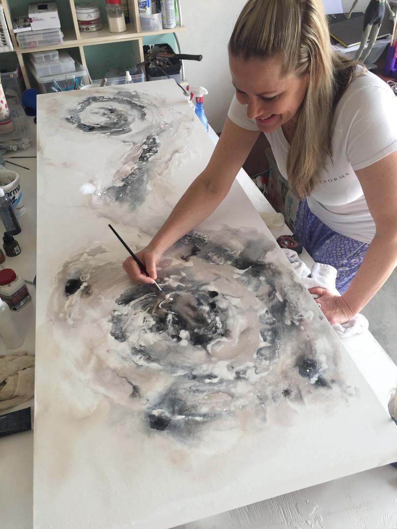 Brenda at hoem in her Studio