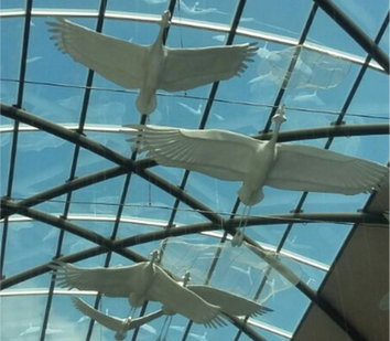 Grey crane Ceiling Sculpture