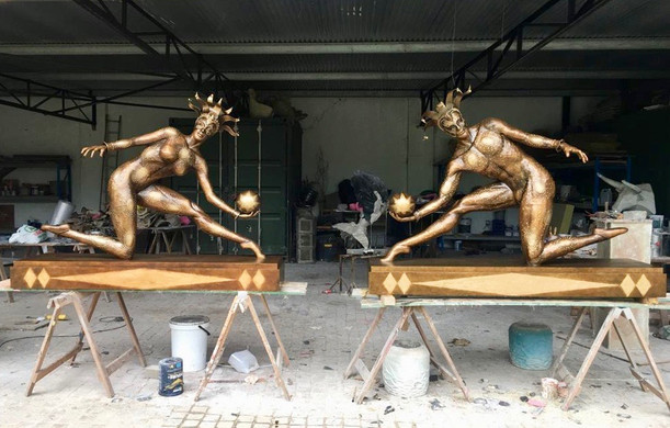 Harlequin Sculptures in Studio