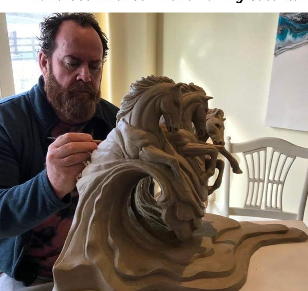 Hamish in the sculpting process