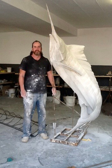 Hamish whith his Marlin Sculpture, a work in progress