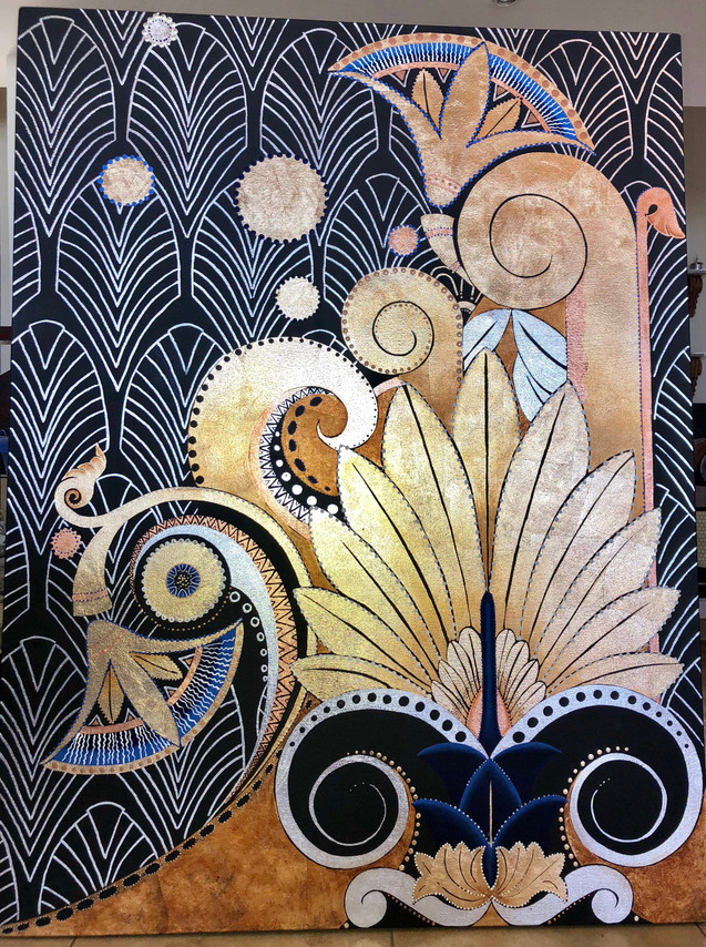 Gold and silver leaf painting