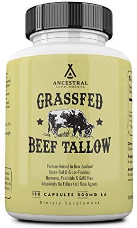 Grass-Fed Beef Tallow (from Kidney Suet) - 180 caps