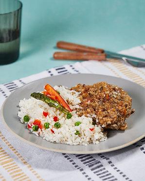 Pollo a la olla y arroz a la jardinera (para dos)