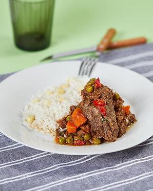Estofado de res con verduras y arroz con choclo (para dos)