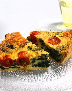 Quiche de espinaca, tomate y queso (para dos)