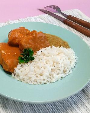 Codillo de cerdo a la peruana con arroz blanco y arverjitas (para dos)