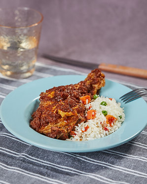 Pollo al horno y arroz a la jardinera (para dos)