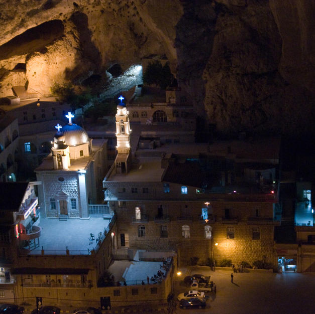 St. Thekla Monastery at night