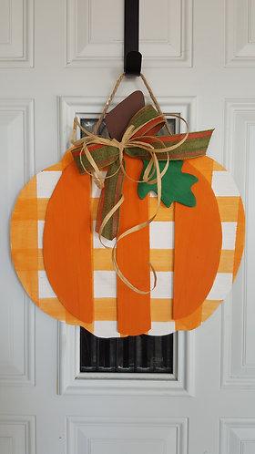 Pumpkin door hanger,  3 D pumpkin door,  buffalo check pumpkin,  fall door decor