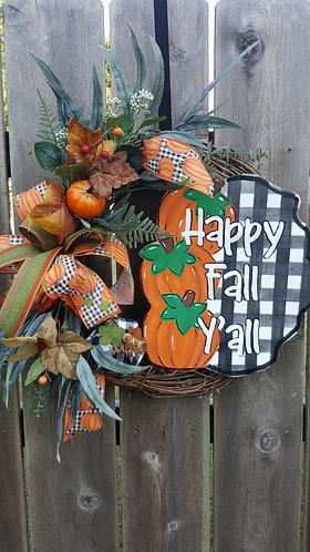 Fall wreath,  fall front door decor, fall wreath for front door,  pumpkin wreath