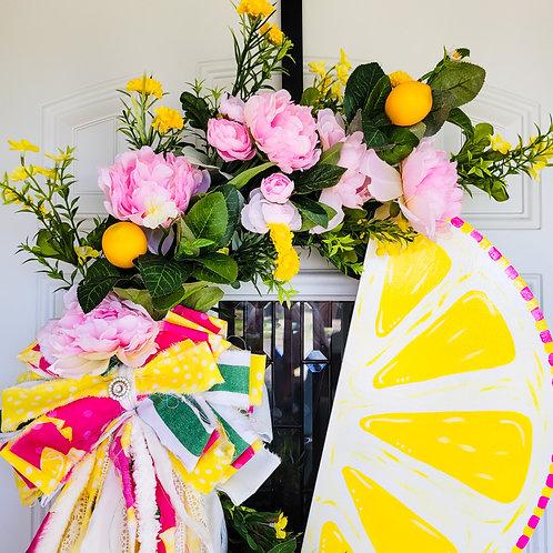 Summer wreath,  spring wreath,  lemon wreath for your door,  summer door wreath