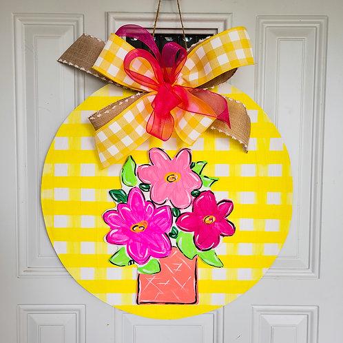 Flower pot door hanger,  Spring wreath,  spring door hanger,  Spring wreath
