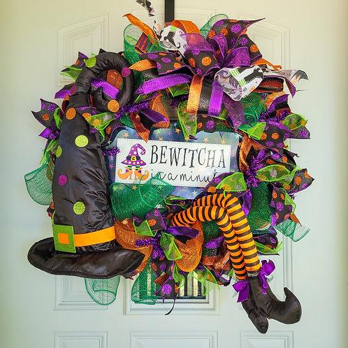 Halloween Wreath, Front Door Wreath for Halloween, Witch Wreath, Witch Wreath fo